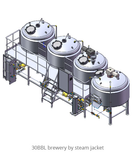 30BBL brewery by steam jacket